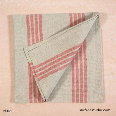 N 080 Beige Red Striped Napkin