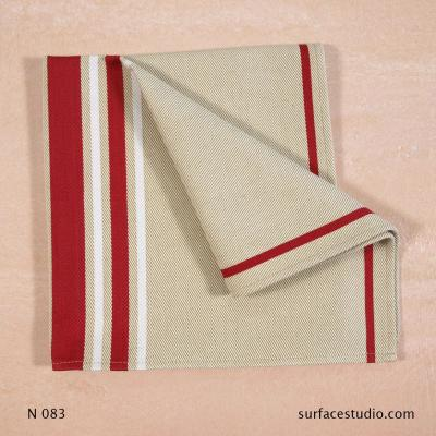 N 083 Beige Red Striped Napkin