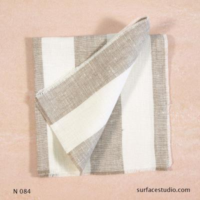 N 084 Beige and White Striped Napkin