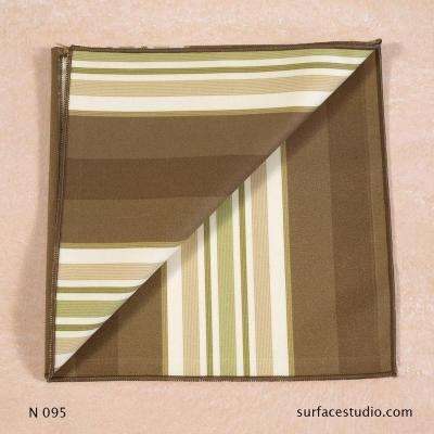N 095 Brown Green Beige Striped Napkin