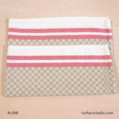 N 098 Beige Brown Red Checker Patterned Striped Napkin
