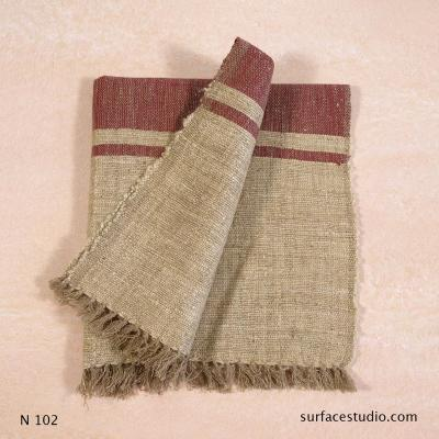 N 102 Red and Brown Striped with Fringe Napkin