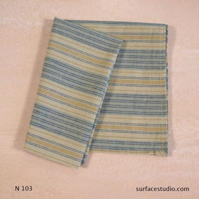 N 103 Blue Beige Brown Striped Napkin