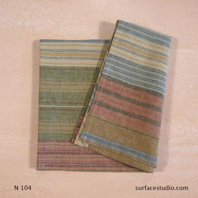 N 104 Brown Green Blue Striped Napkin