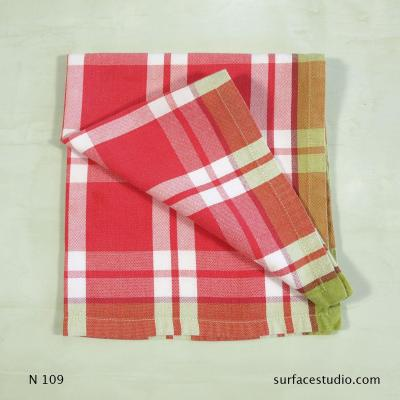 N 109 Red White and Green Plaid Napkin