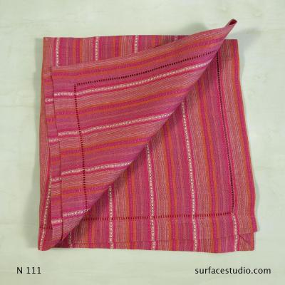 N 111 Pink Red and Brown Striped Napkin