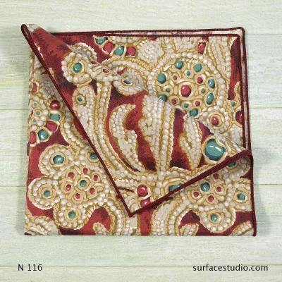 N 116 Red Gold Multi Patterned Napkin