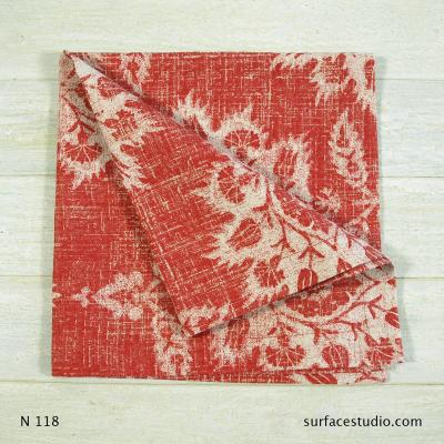 N 118 Red and White Floral Napkin