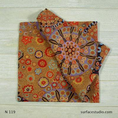 N 119 Red and Brown Floral Patterned Napkin