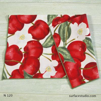 N 120 Red Green White Floral Patterned Napkin