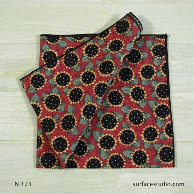 N 123 Black Red Yellow Floral Patterned Napkin
