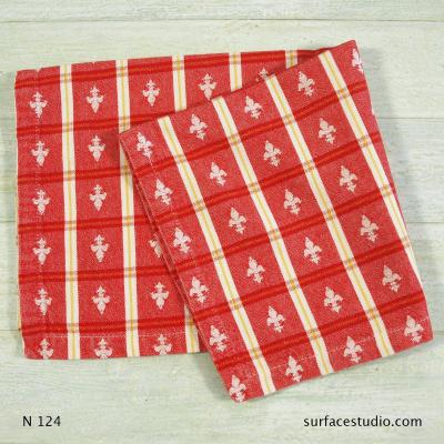 N 124 Red and White Patterned Napkin 2 available
