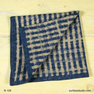 N 129 Beige and Blue Lined Napkin
