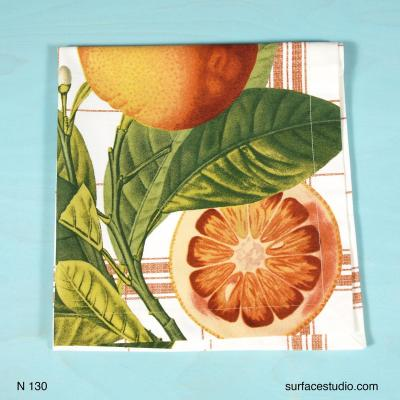 N 130 Green Orange Fruit Patterned Napkin