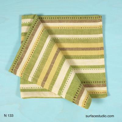 N 133 Yellow White and Green Striped Napkin 4 available