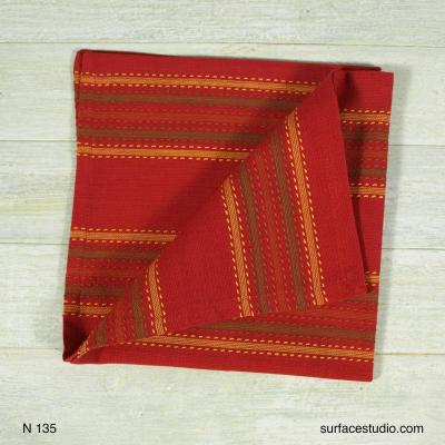 N 135 Brown Red Yellow Striped Napkin 4 available