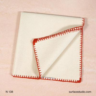N 138 Beige Solid with Red Border Napkin