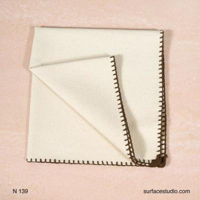 N 139 Beige Solid with Brown Border Napkin