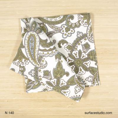 N 140 Green and White Paisley Napkin 4 available