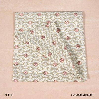 N 143 Beige and Red Pattern Napkin