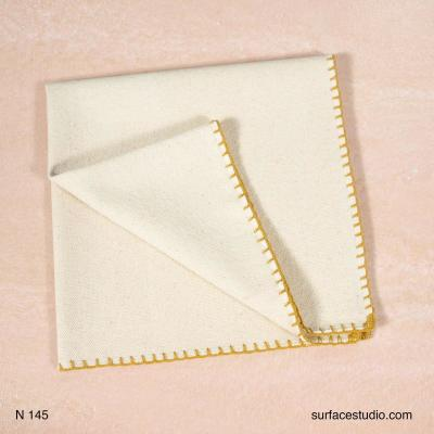 N 145 Beige Solid with Yellow Border Napkin