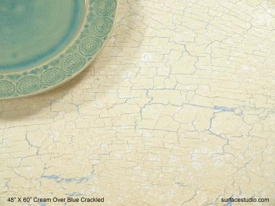 Cream Over Blue Crackled