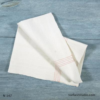 N 147 White Solid with Stripes Napkin
