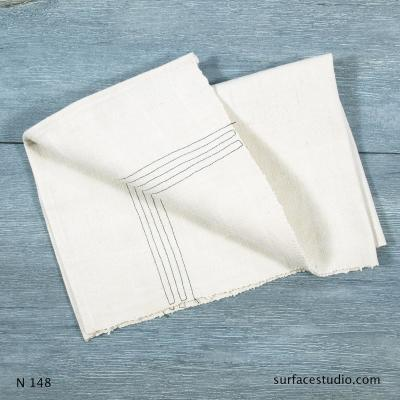 N 148 White Solid with Stripes Napkin
