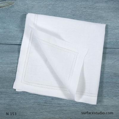 N 153 White Solid with Border Napkin 4 available