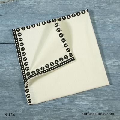 N 154 Off-White Solid with Border Napkin 4 available