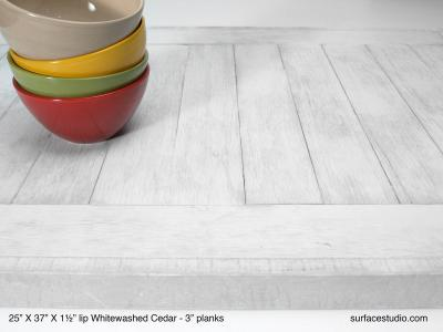 "Whitewashed Cedar 1.5"" lip (3"" Planks)"