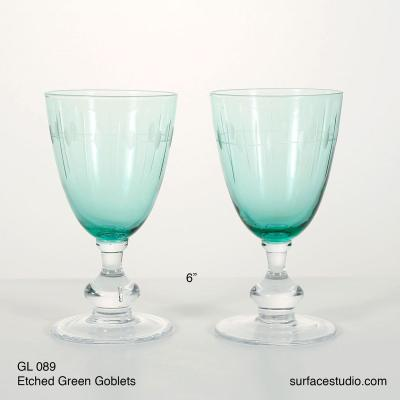 GL 089 Etched Green goblets $5 per piece