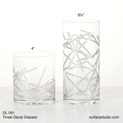 GL 091 Tinsel Decal Glasses $5 per piece