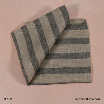 N 169 Beige and Grey Striped Napkin 4 available