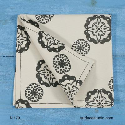 N 179 Grey Patterned Napkin 4 available