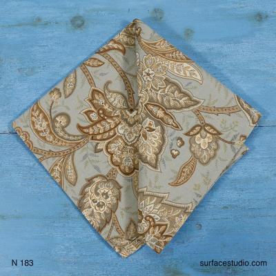 N 183 Grey Floral Patterned Napkin