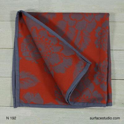 N 192 Red and Grey Floral Napkin 4 available