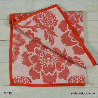 N 193 Red and White Floral Napkin 4 available