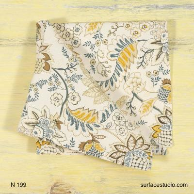 N 199 White and Yellow Floral Patterned Napkin