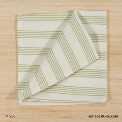 N 200 Green and White Striped Napkin 4 available