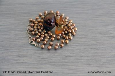 Grained Silver Blue Pearlized