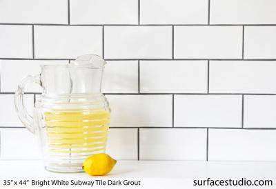 Bright White Subway Tile Dark Grout (45 lbs)