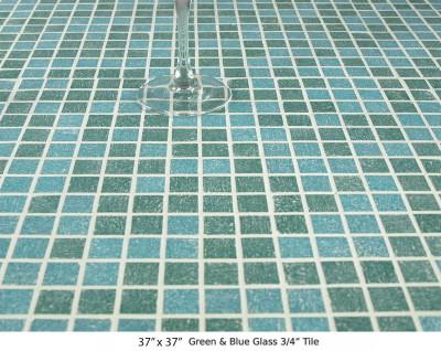 "Green & Blue Glass Mosaic ¾"" Tile (40 lbs)"