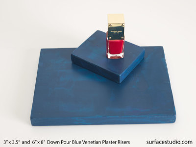 Down Pour Blue Venetian Plaster Risers (2)