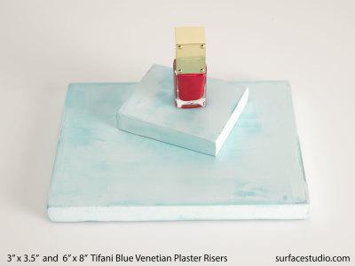 Tifani Blue Venetian Plaster Risers (2)