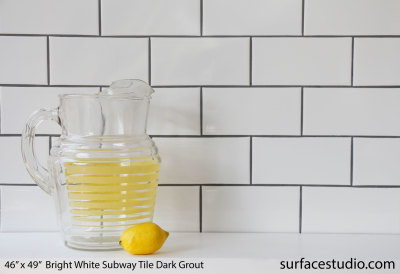 Bright White Subway Tile Dark Grout (65 lbs)