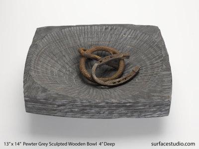"Pewter Grey Sculpted Wooden Bowl 4"" Deep"