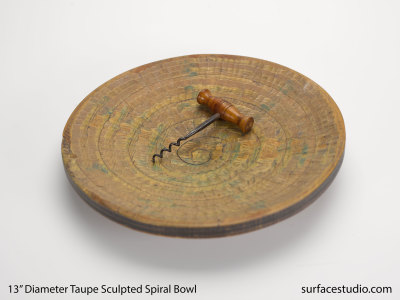 Taupe Spiral Wooden Bowl
