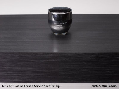"Grained Black Acrylic Shelf  3"" Lip"
