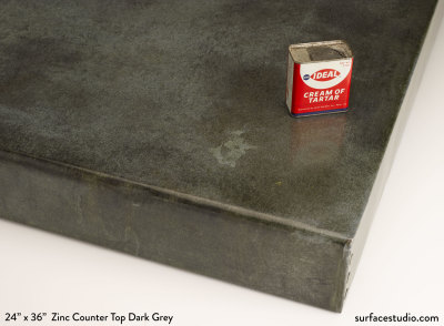 "Zinc Counter Top Dark Grey 3"" Lip (25 LBS)"